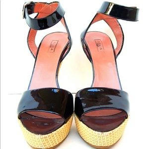 Alaia Black Patent Leather Platform Sandals